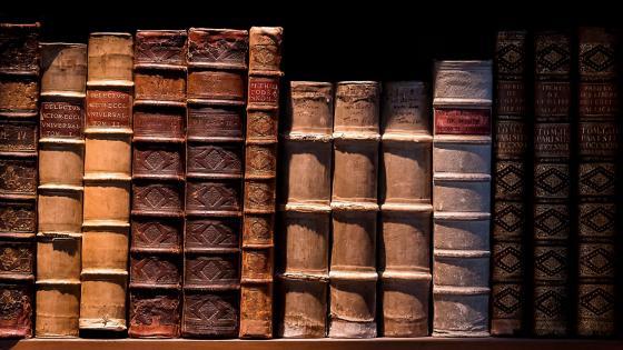 Old books on the bookshelf wallpaper