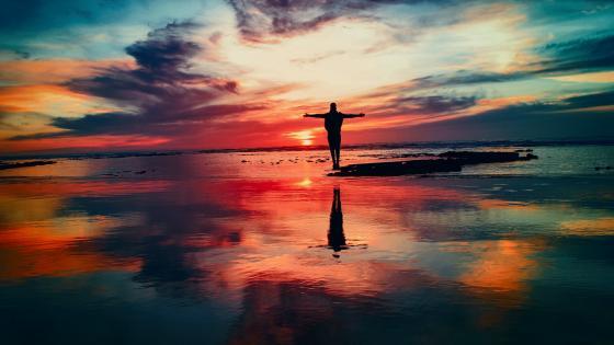 Man silhouette reflection wallpaper