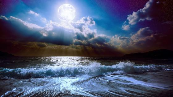 Sea waves in the moonlight wallpaper