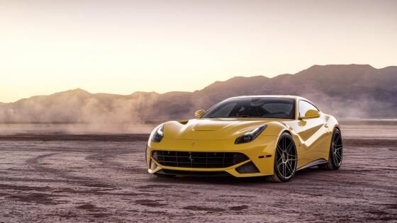 Yellow Ferrari F12 supercar wallpaper