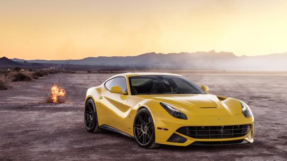 Yellow Ferrari F12 wallpaper