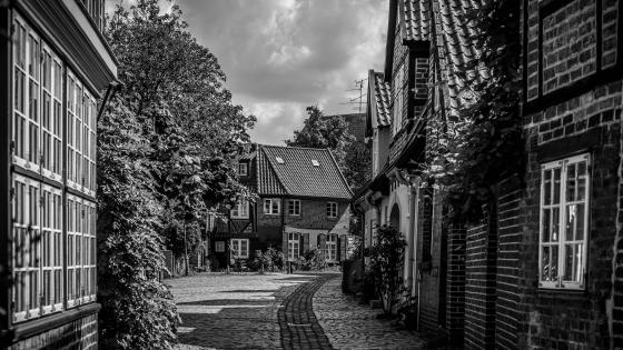 Old town - Monochrome photography wallpaper