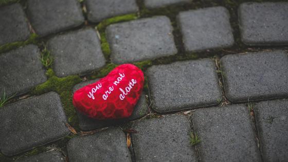 Heart on mossy pavement wallpaper