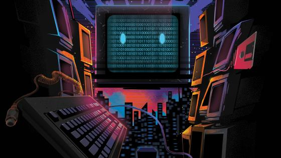 Retro wave monitor - Fantasy art wallpaper