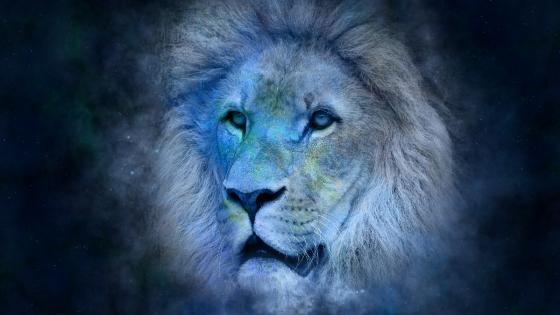 Bluish lion art wallpaper