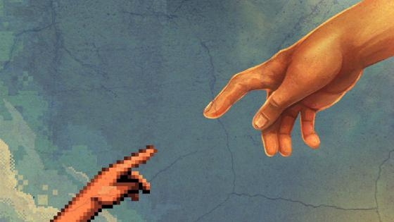 The Creation of Adam - Pixel art wallpaper