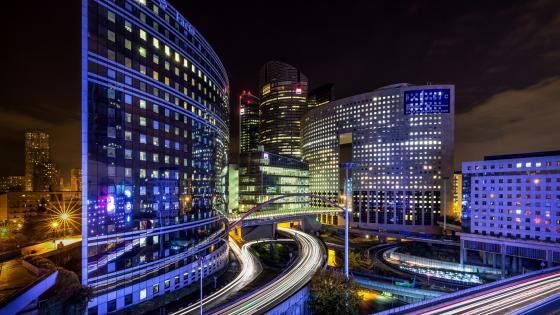 La Defense at night (Paris) wallpaper