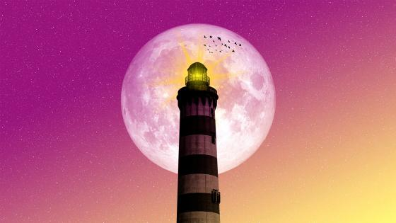 Lighthouse in the full moon - Fantasy art wallpaper