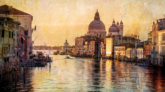 Grand Canal - Painted effect photo wallpaper