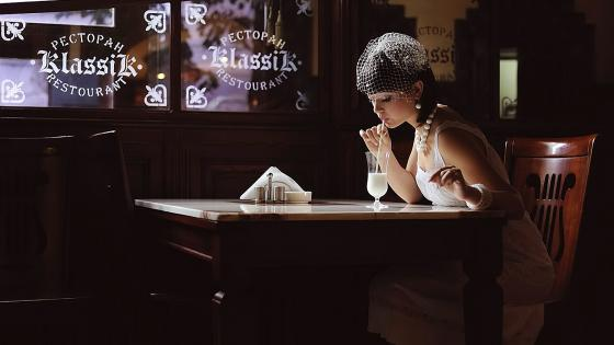 Woman at restaurant vintage artwork wallpaper