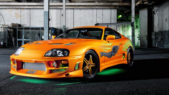 Toyota Supra with green neon lights wallpaper