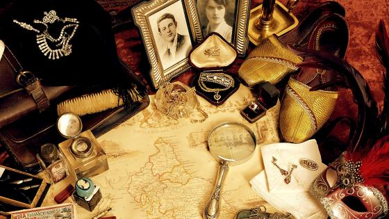 Composition of vintage antique objects wallpaper
