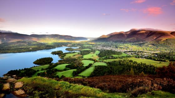 Derwent Water and Keswick in the distance wallpaper