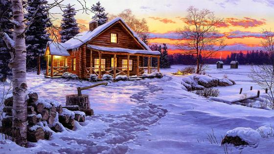Painted winter landscape wallpaper