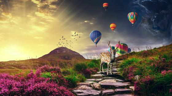 Deer with air balloons wallpaper