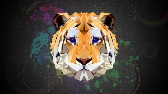 Low-poly tiger head wallpaper
