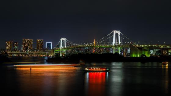 Rainbow Bridge in Tokyo Bay at night wallpaper