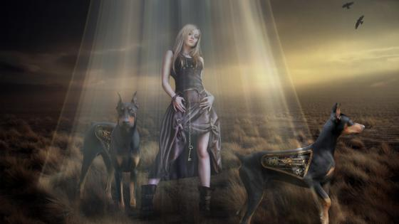 Woman with robot doberman dogs - Steampunk art wallpaper