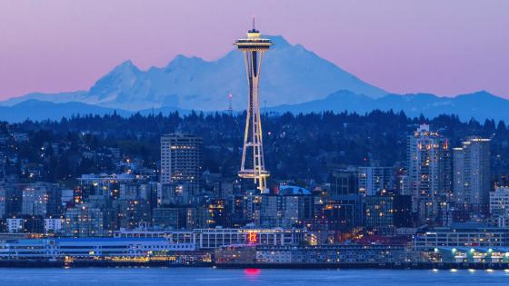 Space Needle and Mount Baker wallpaper
