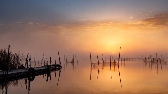 Fishing nets in the sunset wallpaper