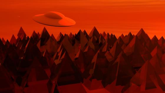 Flying saucer over the mountain - Red fantasy landscape wallpaper
