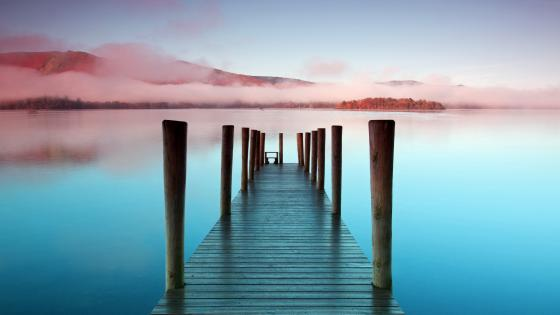 Ashness Pier over Lake Windermere (England) wallpaper