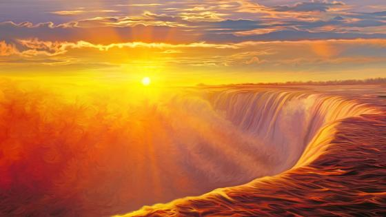 Waterfall in the sunset - Fantasy landscape wallpaper