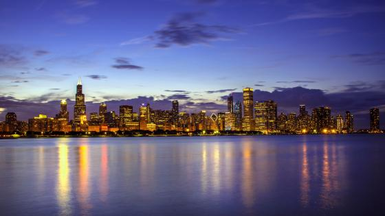 Chicago skyline from Lake Michigan wallpaper