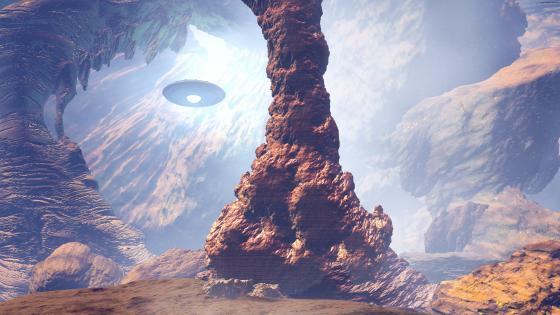 UFO in the canyon - Fantasy landscape wallpaper