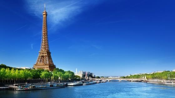Eiffel Tower and Seine wallpaper