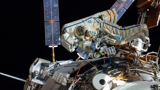 Artemyev and Skvortsov ISS Spacewalk wallpaper