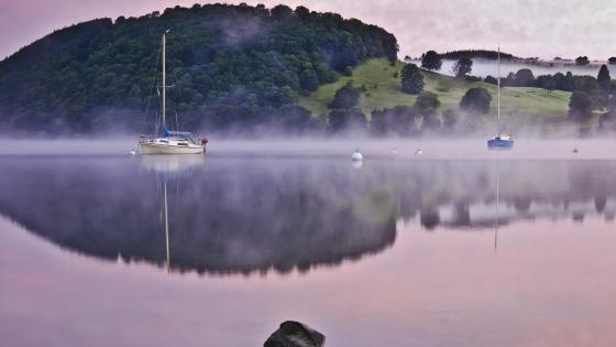 Sailboats in the morning mist wallpaper