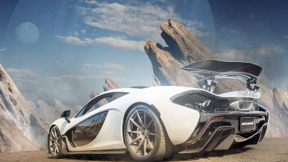 White Mclaren P1 wallpaper