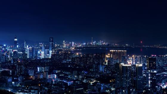 Blue cityscape wallpaper