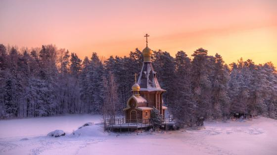 The church of St. Andrew on the Vuoksa River wallpaper