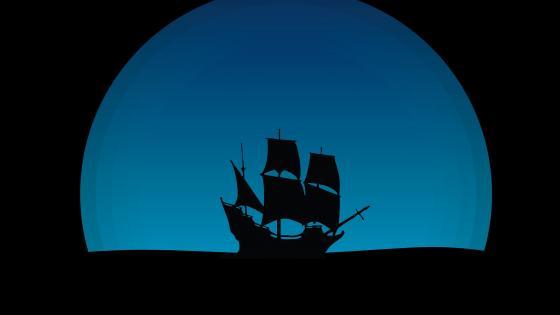 Three-master ship silhouette wallpaper