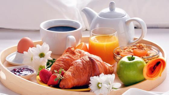 Breakfast with croissant and musli wallpaper