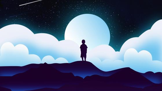 Boy silhouette in the moonlight wallpaper