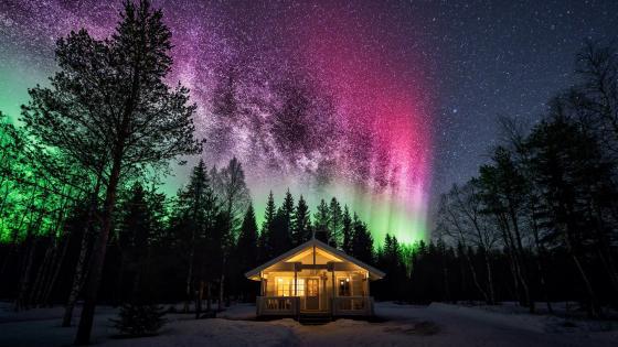 Forest house under the polar lights wallpaper