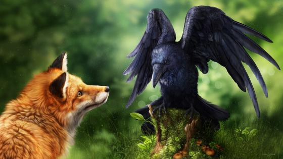 Raven and fox wallpaper