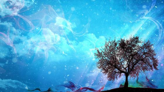 Lone tree - Fantasy art wallpaper