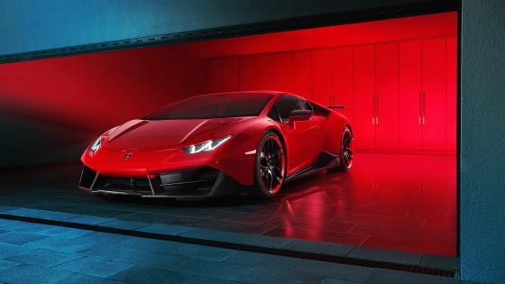 Lamborghini Huracan in the garage wallpaper