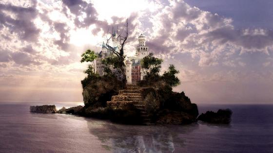 Fantasy castle on an island wallpaper