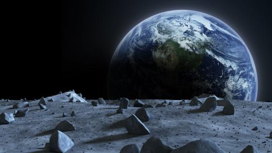 Earth from Moon - Space art wallpaper