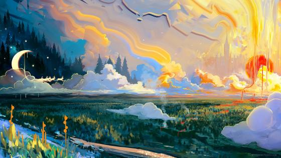 Modern landscape painting artwork wallpaper