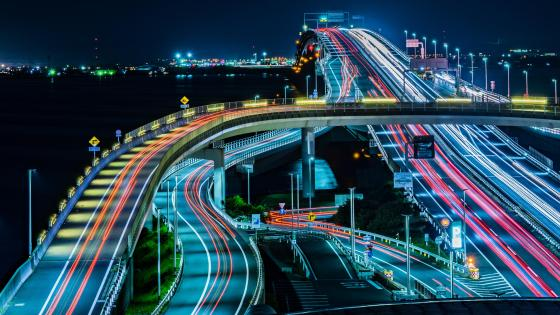 Tokyo Bay Aqua-Line Light Trails wallpaper