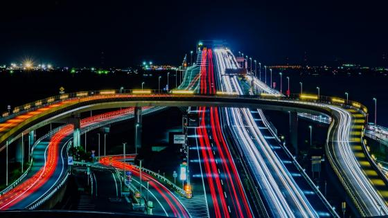 Tokyo Aqua-Line Bridge at Night wallpaper