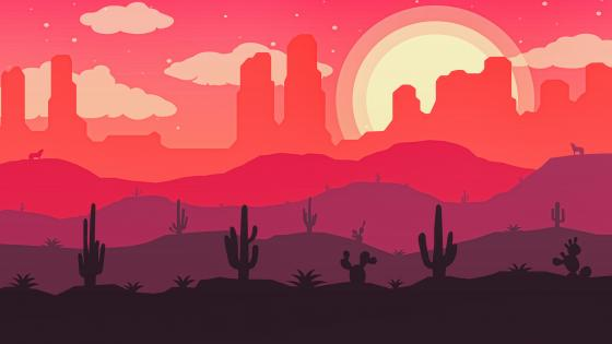 Wasteland sunset silhouette wallpaper