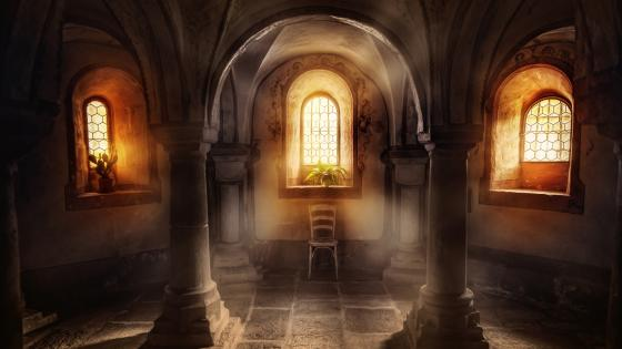Gothic interior wallpaper