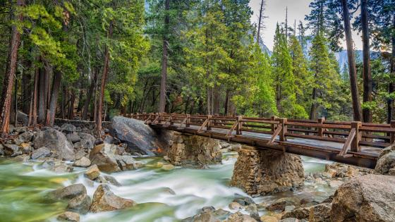 Lower Yosemite Falls bridge wallpaper